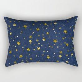 Golden Stars on Blue Background Rectangular Pillow