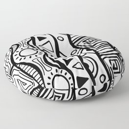 Four Waves - Freestyle Tribal Doodle Design Floor Pillow