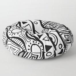 Four Waves - Freestyle Tribal Doodle Design Floor Pillow