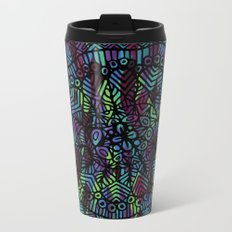 Purple and Green Doodle 14 Metal Travel Mug