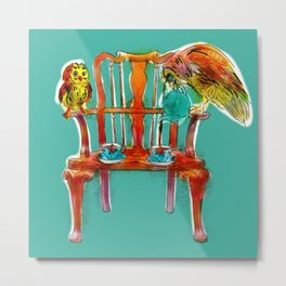 animals in chairs #16 The Owl Tea Metal Print