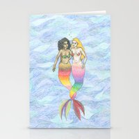 lesbian Stationery Cards featuring lesbian mermaids by ElenaM