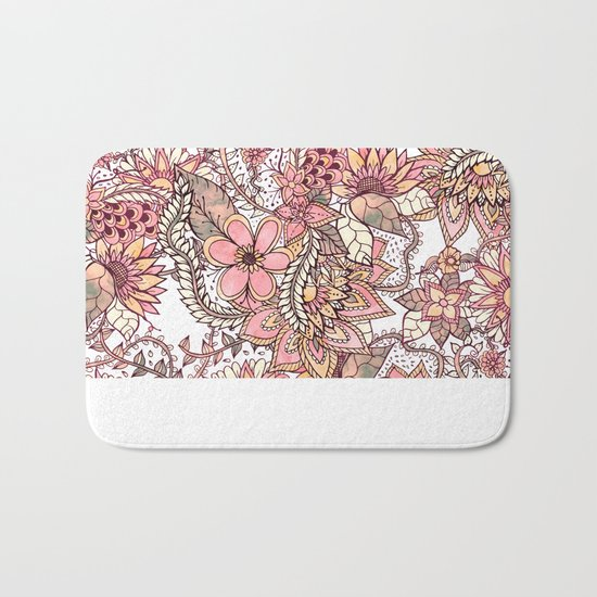 Boho chic red brown floral hand drawn pattern Bath Mat