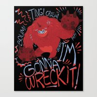 wreck it ralph Canvas Prints featuring Wreck-it Ralph (Scraped appearance) by Camille Dion-Bolduc