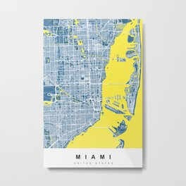 Miami Map | Blue & Yellow | More Colors, Review My Collections Metal Print
