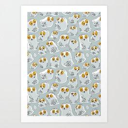 Snowy Owls. Art Print
