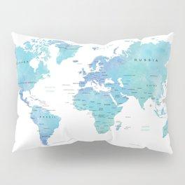 Watercolour World Map Pillow Sham