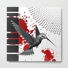 Trash Polka Flying Hummingbird Geometric Shapes Metal Print
