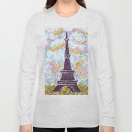 Eiffel Tower Pointillism by Kristie Hubler Long Sleeve T-shirt