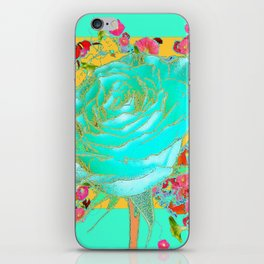 TURQUOISE ART ROSE FLOWERS  ORANGE DESIGN iPhone Skin