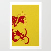 minnie mouse Art Prints featuring Mickey and Minnie Mouse by Katherine Marshall