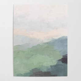 Seafoam Green Mint Black Blush Pink III Abstract Nature Land Art Painting Art Poster