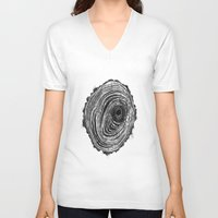 tree rings V-neck T-shirts featuring Tree Rings - Dark by Emily Swedberg (Ito Inez)