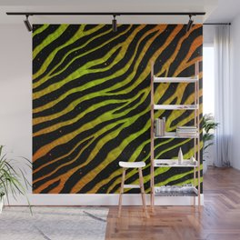 Ripped SpaceTime Stripes - Orange/Lime Wall Mural