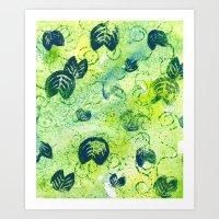 Lily Pad Textile 2 Art Print