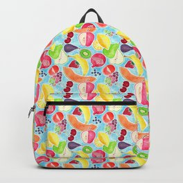 Fruit Salad in Watercolors on Bright Blue Background Backpack