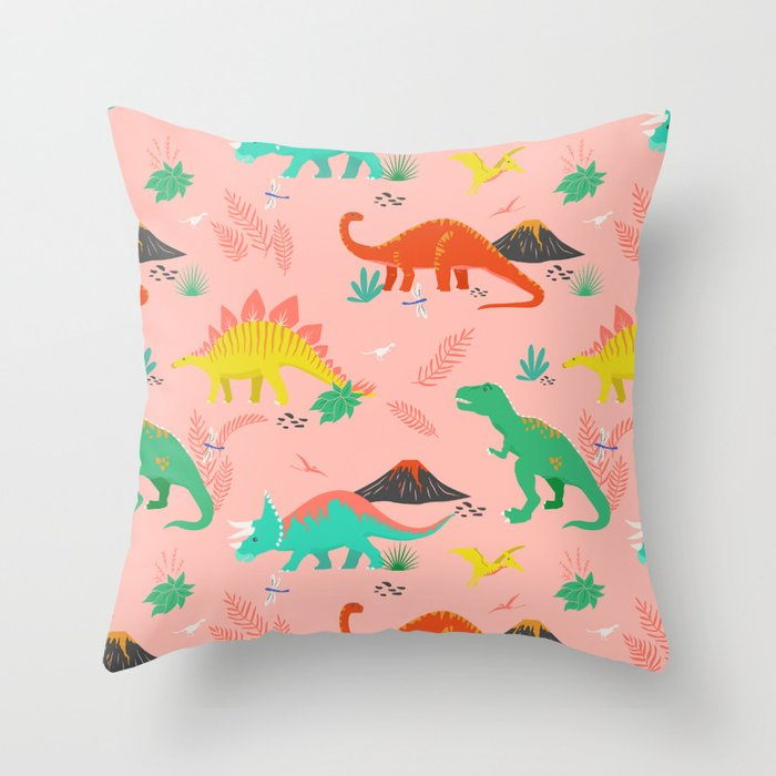 Jurassic Dinosaurs on Pink Throw Pillow