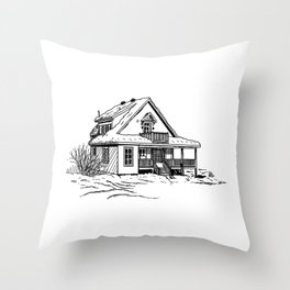 Winter Cottage Ink Throw Pillow