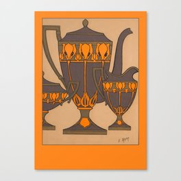 Art Nouveau Arts & Crafts Pottery Design - Drink Tea in Style Canvas Print