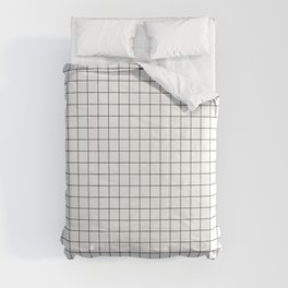 Black and White Thin Grid Graph Comforters