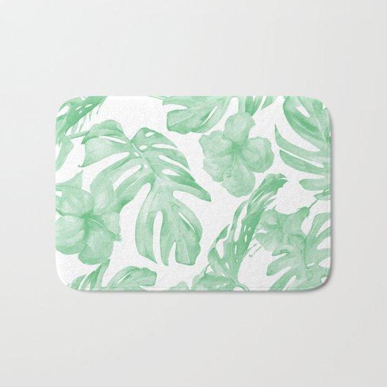 Tropical Island Republic Green and White Bath Mat