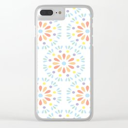 Pastel geometric flowers Clear iPhone Case