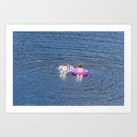 Girls on the lake Art Print