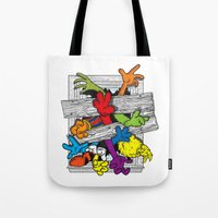 cartoons Tote Bags featuring Cartoons Attack by luis pippi