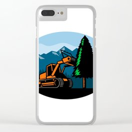 Forestry Mulcher Tearing Tree Oval Retro Clear iPhone Case