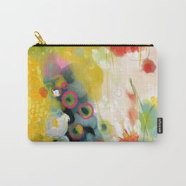 abstract floral art in yellow green and rose magenta colors Carry-All Pouch