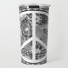 Zen Doodle Peace Symbol Black And White Travel Mug