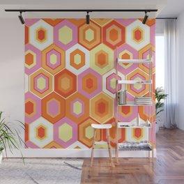 Pink, Orange, Yellow and White Hexagon Geometric Retro Pattern Wall Mural