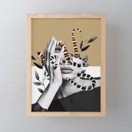 Woman and snakes Framed Mini Art Print