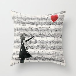 Banksy Balloon Girl Music Sheet Art Throw Pillow