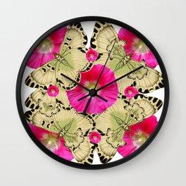 FUCHSIA PINK HOLLYHOCKS YELLOW BUTTERFLIES Wall Clock