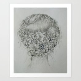 Updo with flowers Art Print