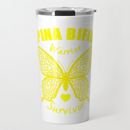 Spina Bifida Warrior Survivor Lace Butterfly Awareness Travel Mug