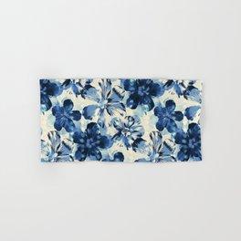 Shibori Inspired Oversized Indigo Floral Hand & Bath Towel