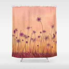 Dreamy Violet Dandelion Flower Garden Shower Curtain