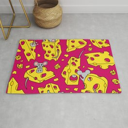 Mice and Swiss Cheese Red Rug