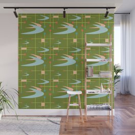 Mid Century Modern Boomerangs on Lime Green Wall Mural