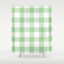 Mint Gingham Pattern Shower Curtain