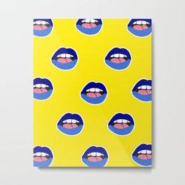 blue lips Metal Print