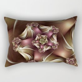 Abiding Fractal Spiral in Brown, White and Pink Rectangular Pillow