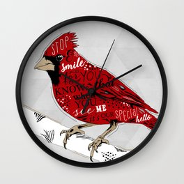 Cardinal Bird Lost Loved One Visiting Wall Clock