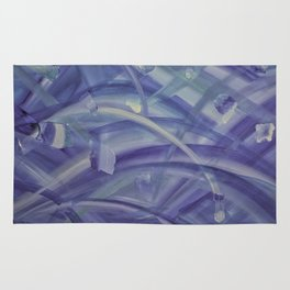 Blue coloured abstract acrylic painting Rug