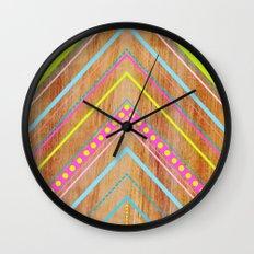 Wooden Chevron Pink Wall Clock