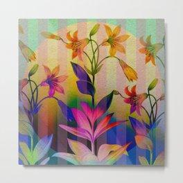 Tiger Lilies on Stripes Metal Print