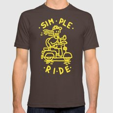 Simple Ride SMALL Mens Fitted Tee Brown