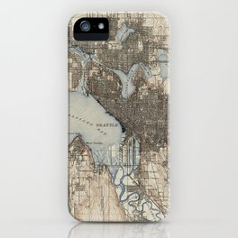 Vintage Map of Seattle Washington (1908) iPhone Case